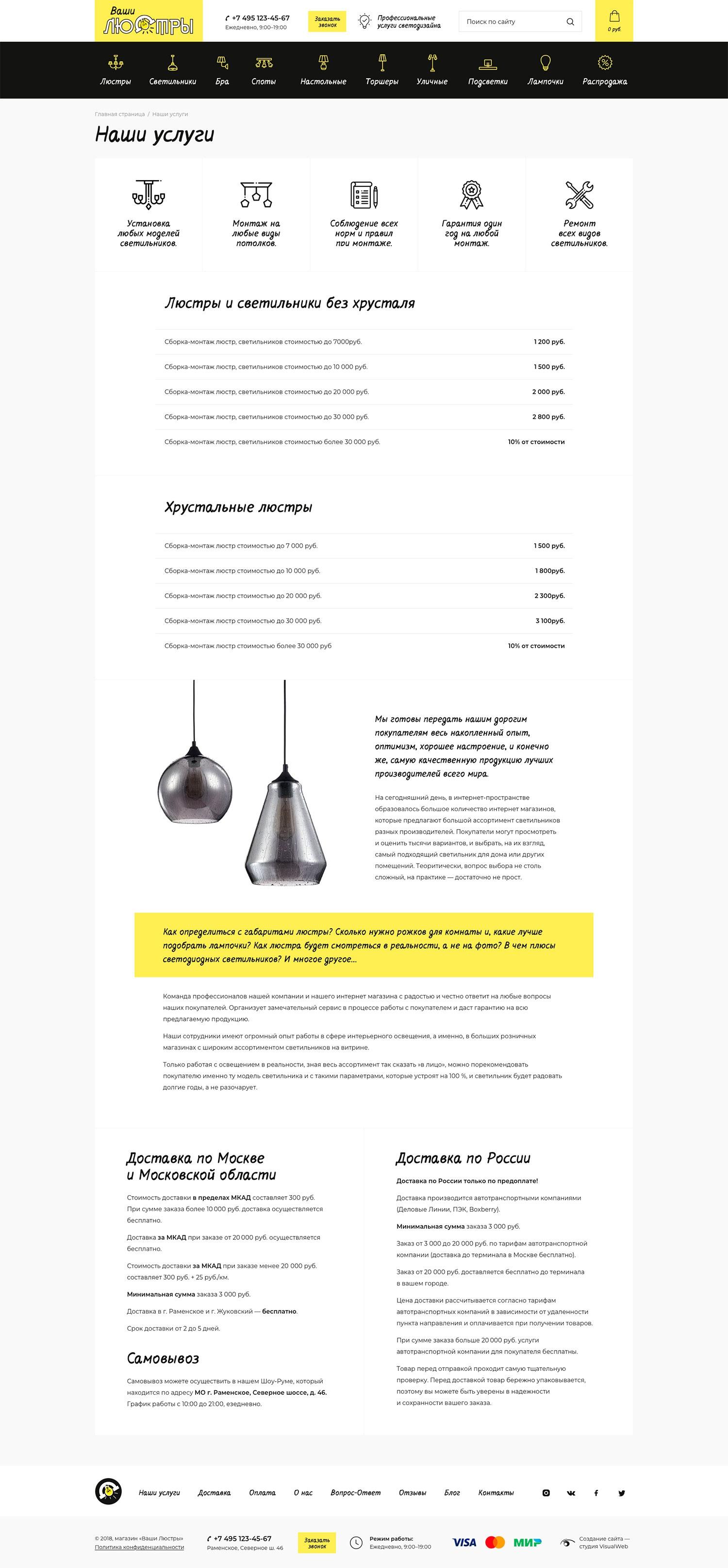 Создание интернет-магазина светильников Ваши люстры.