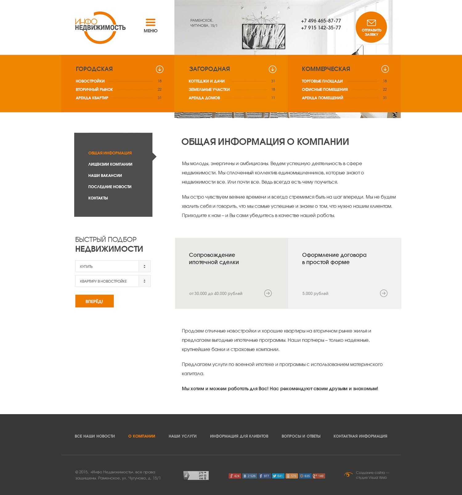 Создание сайта агентства недвижимости Инфо-Недвижимость